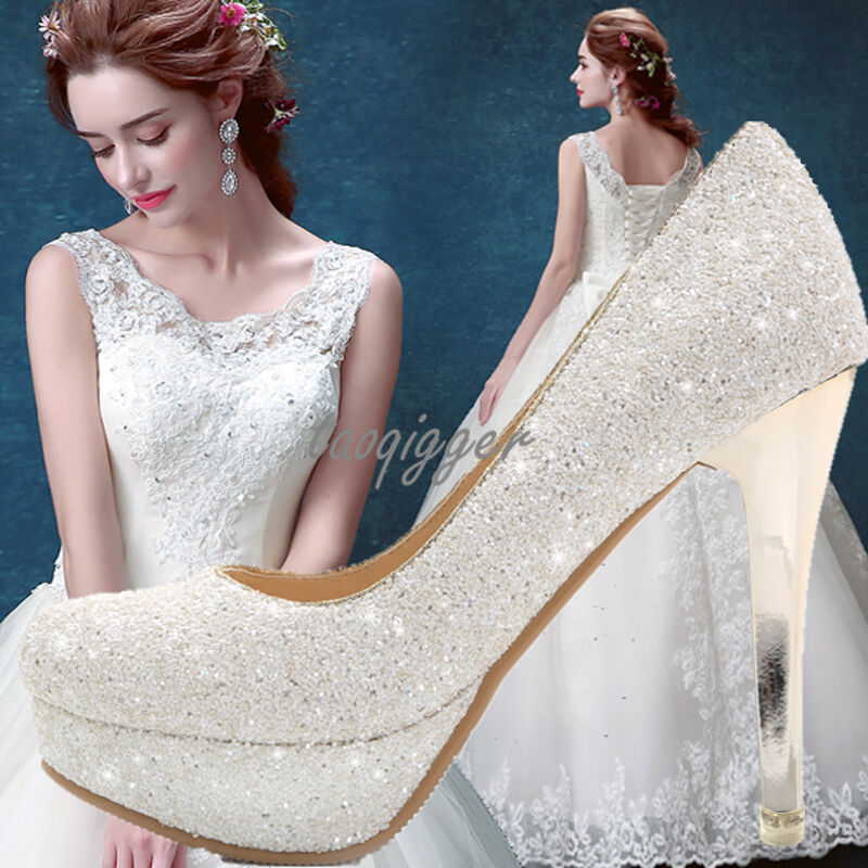 White Womens Sequins Stiletto Formal Wedding Bride shoes Pumps Evening shoes New