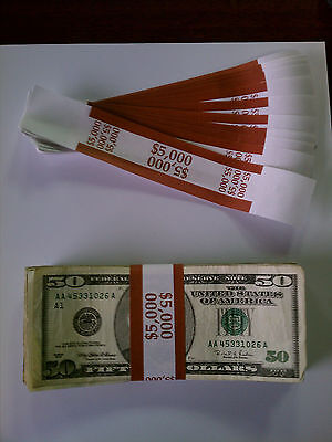100 - New Self-Sealing Currency Bands - $5000 Denomination - Straps Money  Fifty 643019989463 | eBay