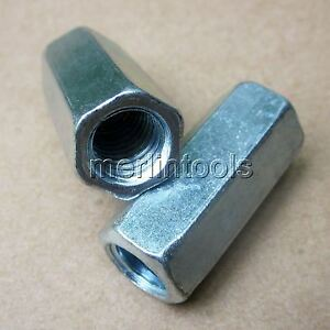 2Pcs-M16-x-2-x-50mm-pitch-Long-Rod-Coupling-Hex-Nut-Right-hand-Thread