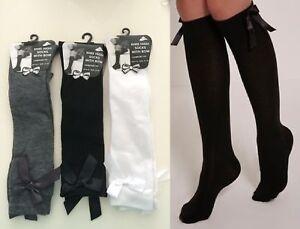 Women Girls KNEE HIGHS SOCKS  COTTON Lycra Plain Soft Socks 3 pair pack
