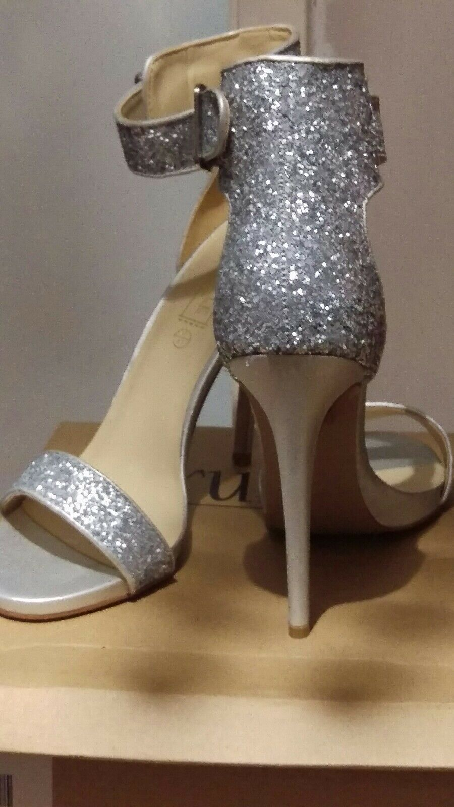 Silver Glitter Ankle Strap Heeled Sandals UK Size 8 41 Brand new