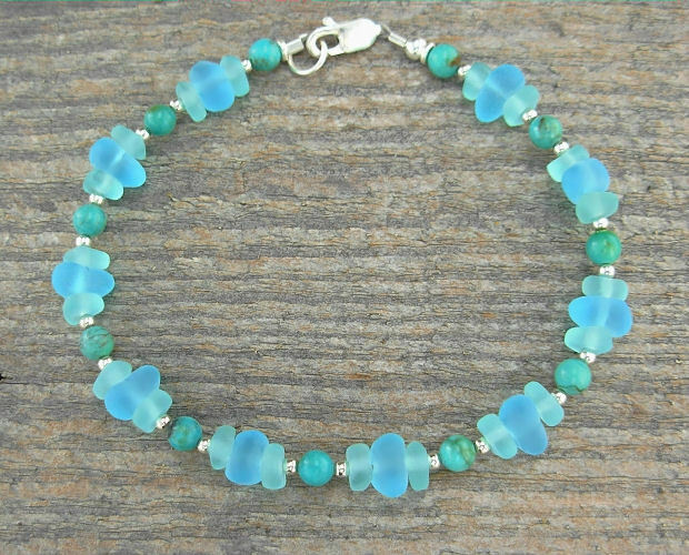 'Sea Glass' & Turquoise Bracelet - Anklet, Frosted Aqua Glass & Gemstone, Sm-XL