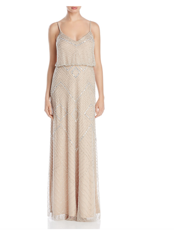Adrianna Papell Beaded Blouson Gown Silver Nude sz 6 Bridesmaid Prom Geometric