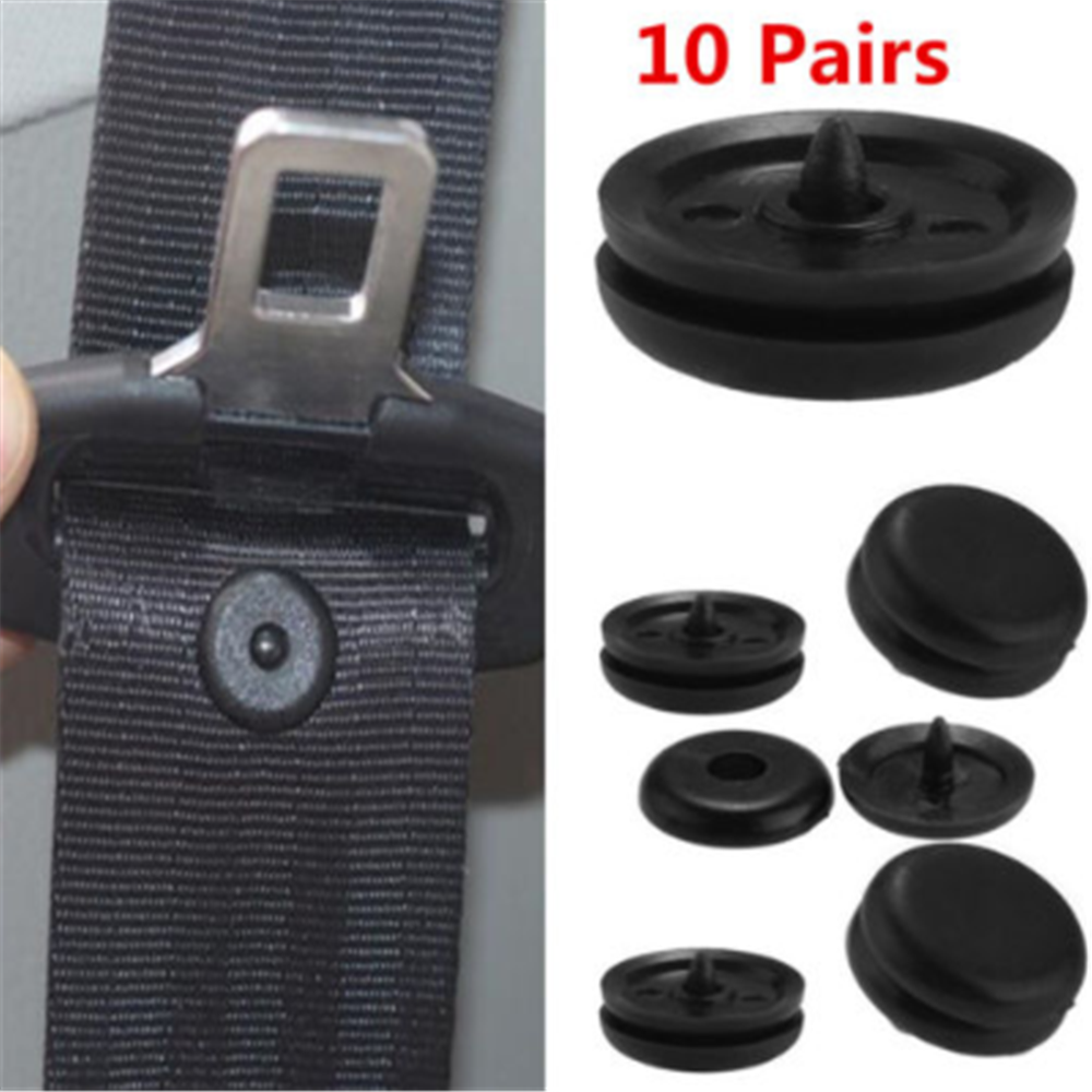 10 Pairs Universal Car Seat Belt Stopper Clamp Buckle Button Fastener Safety