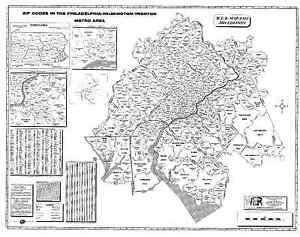 Philadelphia Wilmington Trenton Laminated Zip Code Wall Map Ebay