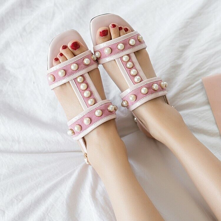 Womens Grace Pearl T-Strappy Open Toe Low Block Heels Sandals Casual Party shoes
