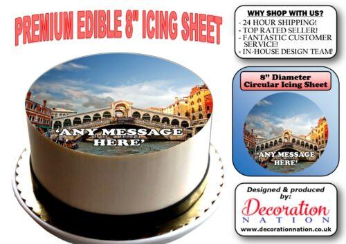 Glaçage Comestible Cake Topper Anniversaire Italie environ 20.32 cm Pont De Rialto Venise personnalisé 8 in