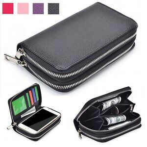 Double-Zip-Wallet-Bag-ID-Card-PU-Leather-Case-Cover-For-BlackBerry-Phones