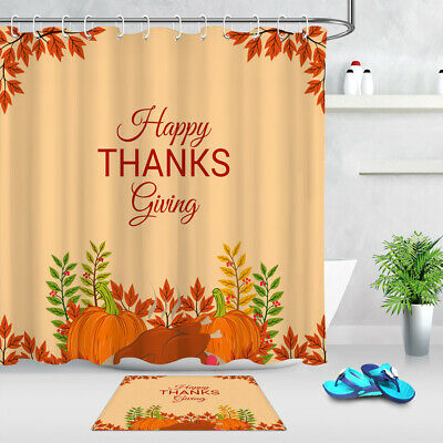 100/% Polyester Fabric /& Hooks Autumn Pumpkin Harvest Shower Curtain Bathroom Set