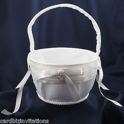 Wedding Flower Girl Basket Satin Ribbons and Diamonte Heart 9cm x 15cm