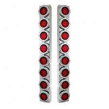 Peterbilt Rear Air Cleaner Kit 16 Reflector Red LED Lights & Bezels - Red Lens