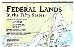 The Fifty States Map.National Geographic Map Federal Lands In The Fifty States