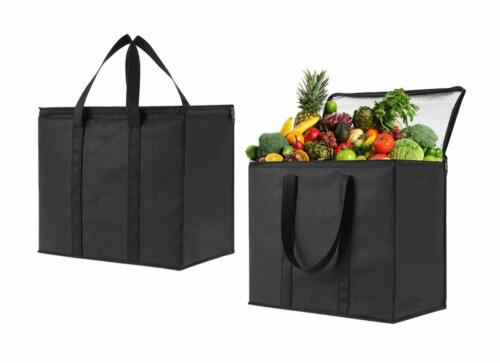 2 Pack Insulated Reusable Grocery Bag by VENO Durable Extra Large Heavy Duty