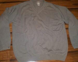 Ll Bean Mens Sweater Extra Large Xl Tall Heavy Knit Tan V Neck