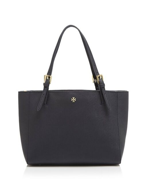 34acc13b7692 NWT Tory Burch Original YORK Buckle Shoulder Tote BLACK Saffiano Leather  AUTHNTC