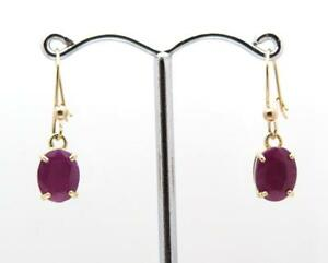 BNWT-Real-Ruby-Earrings-9ct-Gold-Dangle-Drop-Safety-Wire-Hooks-UK-Made-Hallmark