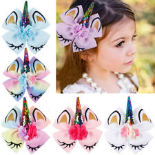 "8/"" Large Sequin Unicorn Bow Ribbon Knot Girls Kids Hairpin Hair Alligator Clips"
