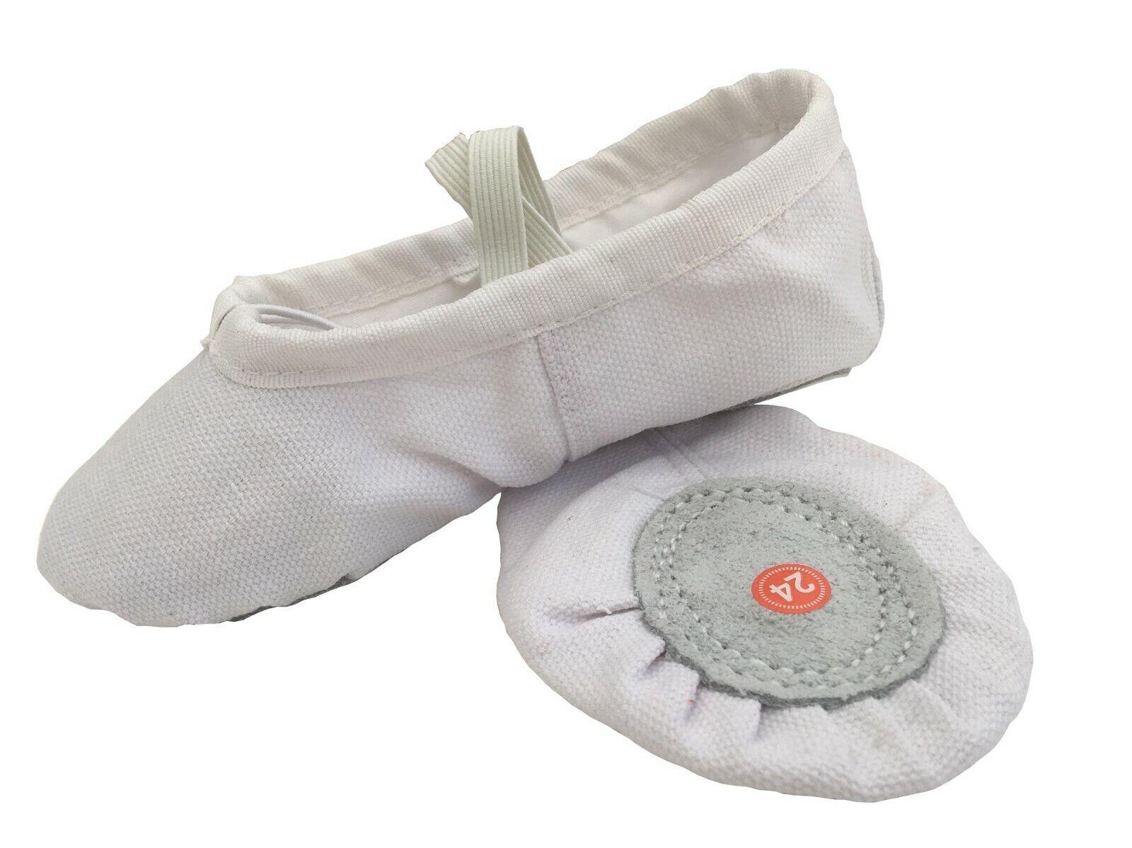 BALLET WHITE CANVAS GYMNASTIC YOGA SPLIT SOLE SHOES