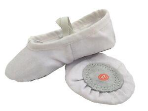 BALLET-WHITE-CANVAS-GYMNASTIC-YOGA-SPLIT-SOLE-SHOES