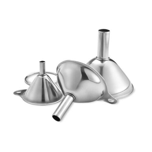 3Pcs Stainless Steel Kitchen Small Mini Funnel Metal Easy Fill Jam Jar