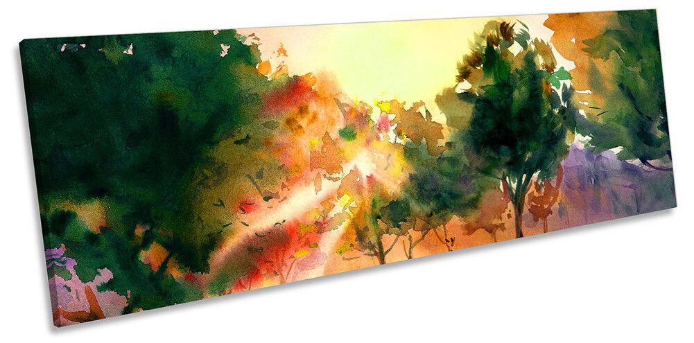 SUNSET Forest Acquerello Panorama a muro opera d'arte art print