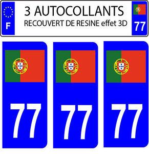 3-pegatinas-matricula-de-coche-CON-RELIEVE-3D-RESINA-BANDERA-PORTUGAL-N-77