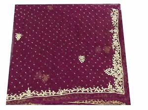 Om-Vintage-Dupatta-Chiffon-Zardozi-Work-Maroon-Stole-Veil-Hijab-Scarves-W-1931