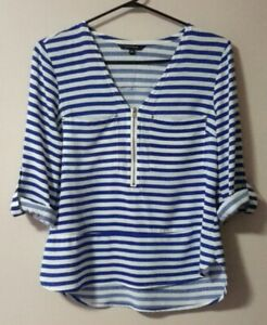 Portmans-Blue-White-Stripe-Summer-Top-Blouse-Size-6