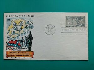1951-FIRST-DAY-COVER-1951-CONFEDERATE-VETERANS-FLUEGEL-CIVIL-WAR-MAIL-MILITARY