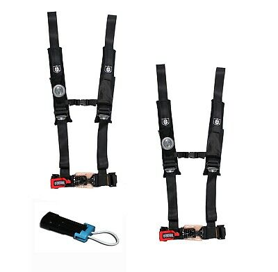 """Pro Armor 4 Point Harness 2/"""" Pads Seat Belt PAIR BYPASS BLACK RZR XP TURBO 16+"""