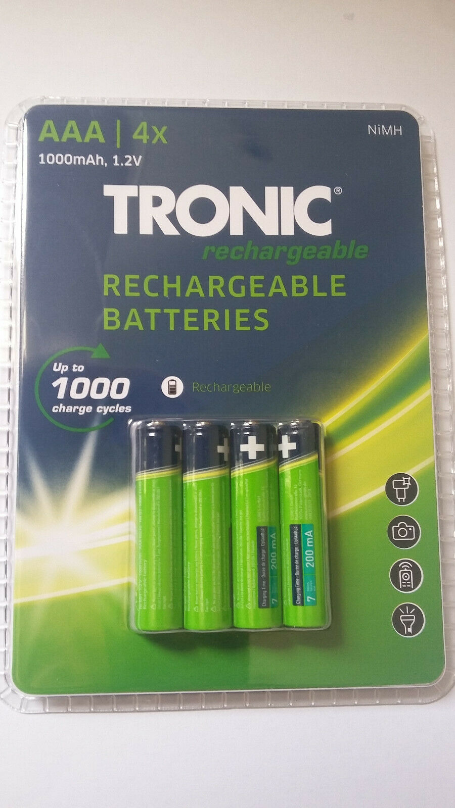 Tronic NiMH Rechargeable Batteries AAA 1.2v 1000mah Pack Of 4 Up to 1000 Charges