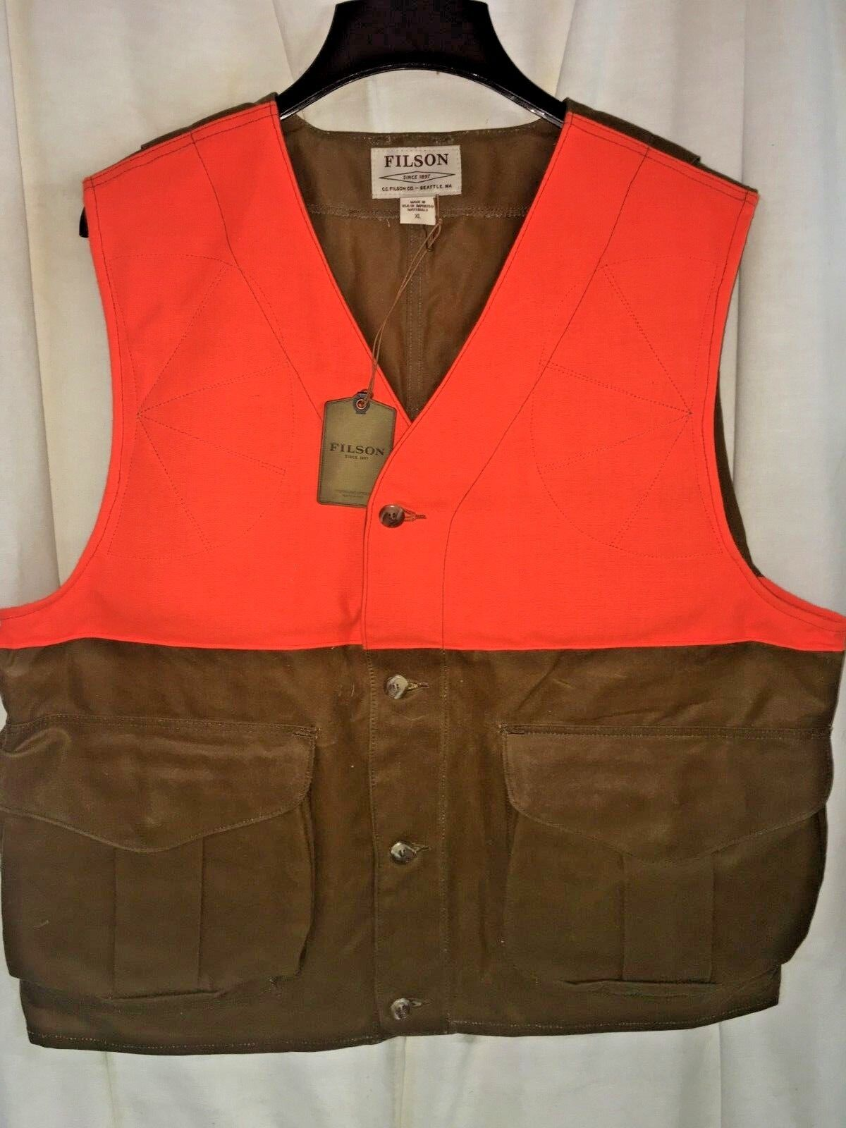 NEW FILSON Made in USA Blaze orange Tin Cloth Upland Hunting Vest XL  225 1ST