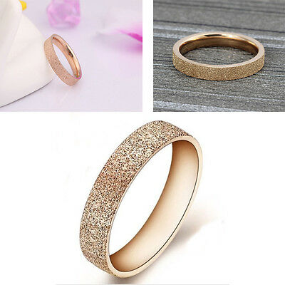 New Style  Rose Gold Stainless Steel Ring Band finger women Jewelry Love Size