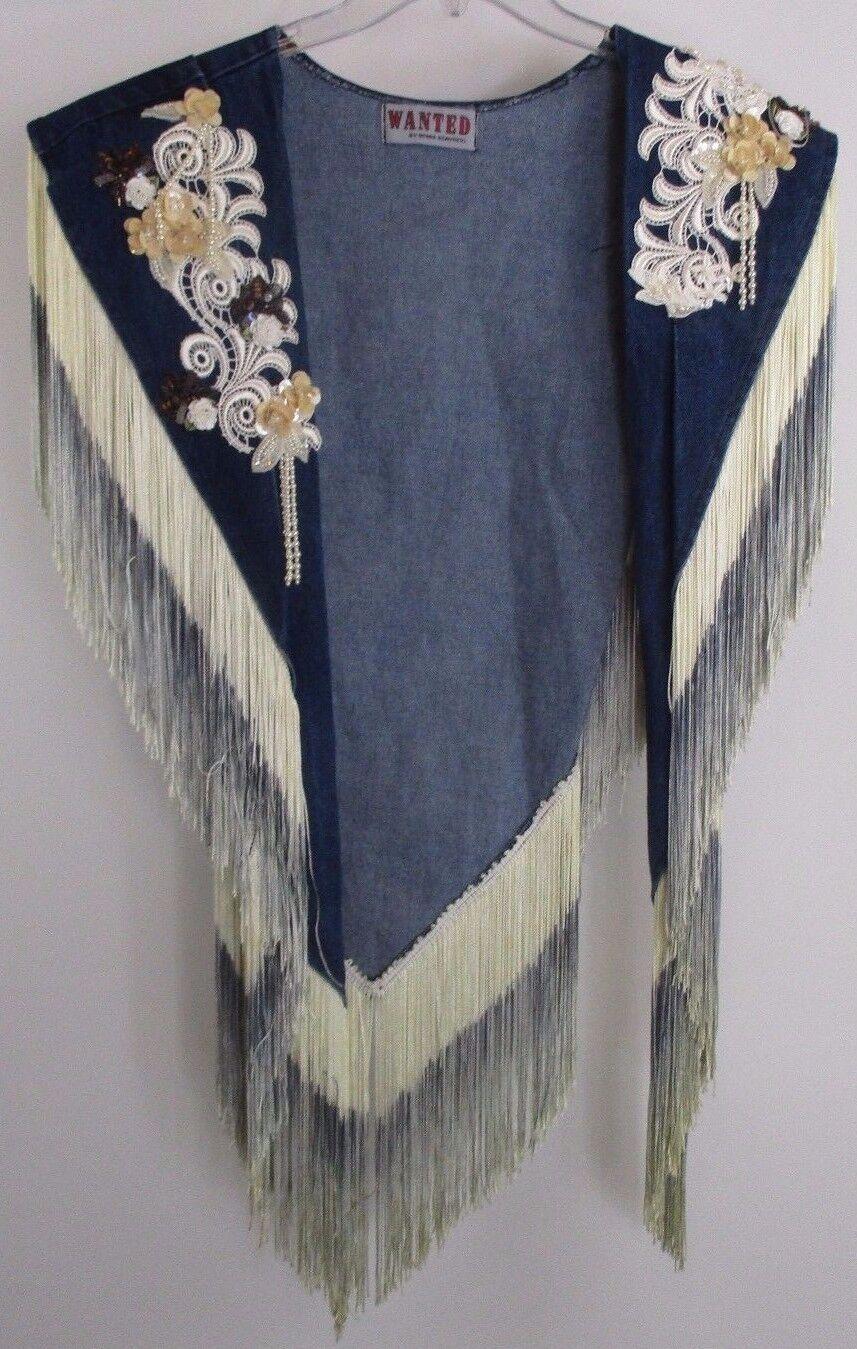 Wanted  by Beads Beads Beads Beautiful bluee Jean Pearl Fringed Shawl  EUC 771c7b