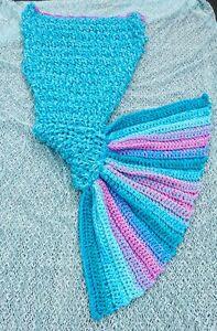 Mermaid Tail Crocheted Cocoon Sofa Beach Quilt Rug Lapghan Blanket Handmade UK