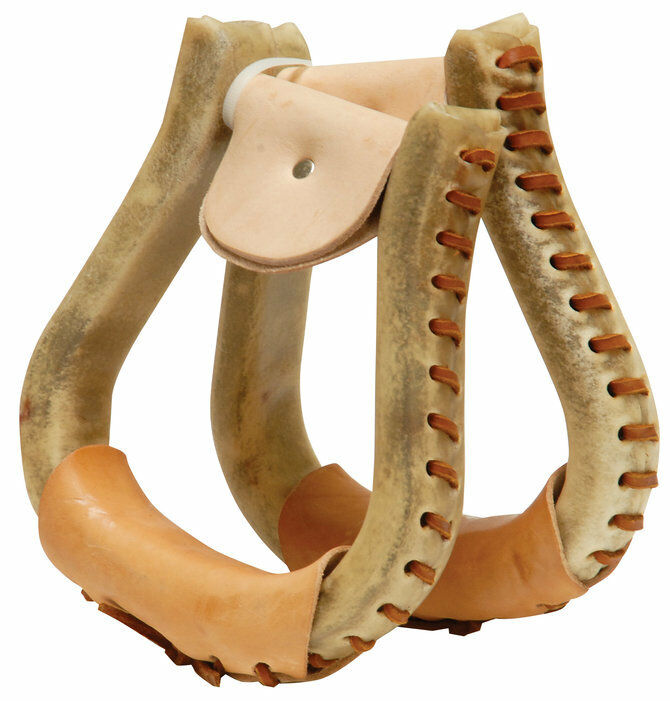 Western  Natural Rawhide Leather Wrapped Pair of Fiber Stirrups with Lacing  the cheapest