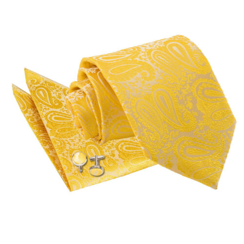 DQT Woven Floral Paisley Gold Classic Skinny Tie Hanky Cufflinks Set