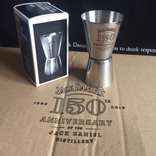 JACK DANIELS 150th ANNIVERSARY GLASS STAINLESS  STEEL 15OTH SHOT MEASURE