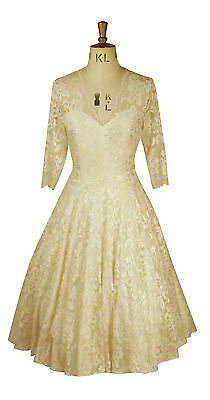 VertrauenswüRdig Baylis Knight Cream Nude Lace Circle Low Cut Sweetheart Dress Wedding Gown 50's GroßEr Ausverkauf