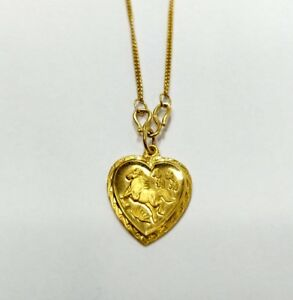 24K-YELLOW-GOLD-CHINESE-PENDANT-NECKLACE-WITH-HEART-CHARM-AND-HORSE-9999