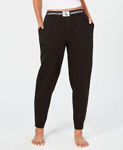 Calvin-Klein-Womens-Monogram-Lounge-Jogger-Pants-Black-Size-Medium