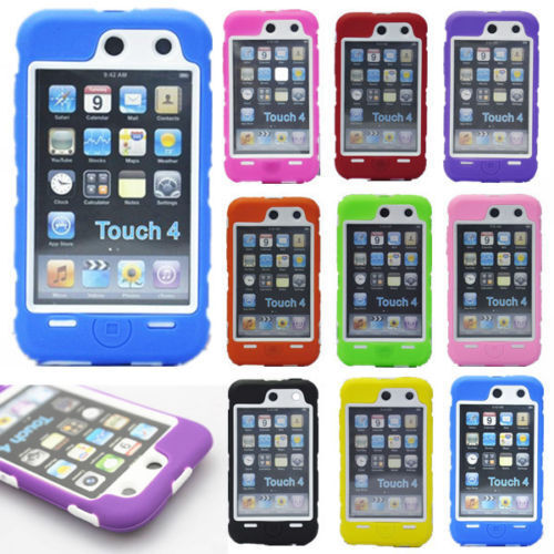 Hot New Heavy Hybrid Silicone Hard Skin Case Cover For iPod Touch 4th Gen Lbz TG