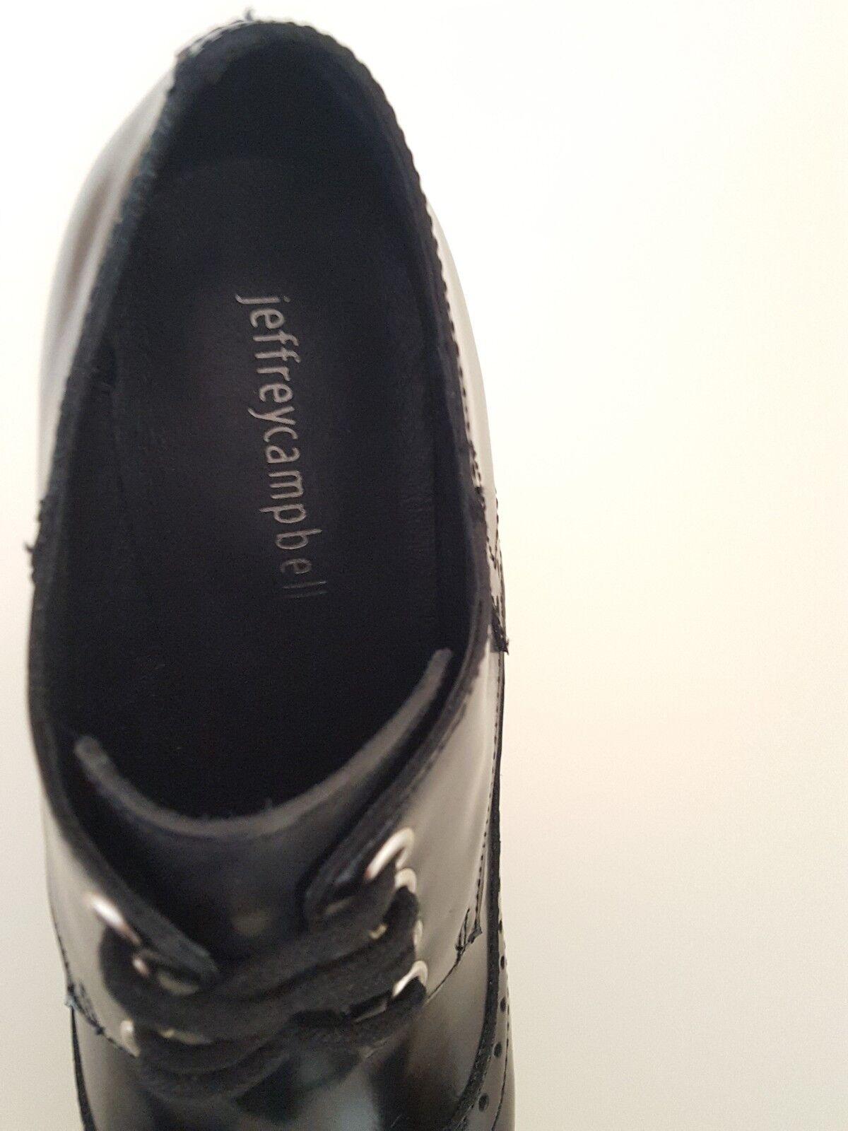 JEFFREY CAMPBELL POMEROY BLACK HEELS LEATHER BROGUE HEELS BLACK SIZE 4UK 53e0c9