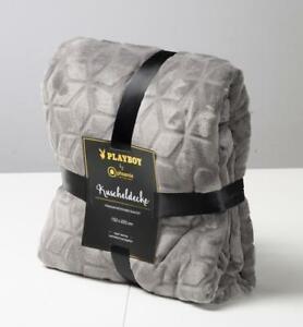 PLAYBOY-Kuscheldecke-034-JACKIE-034-luxurioese-weiche-Decke-Grau-Premium-Microfas