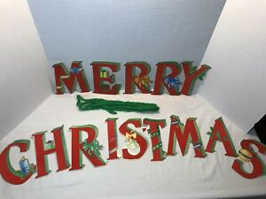 Frohe Weihnachten Girlande.Details Zu Vintage Merry Christmas Garland With Flocked Letters 7 Free Shipping