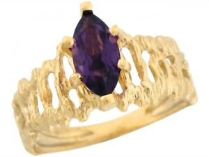 10k-or-14k-Yellow-Gold-Genuine-Amethyst-Marquise-Funky-Band-Design-Ring