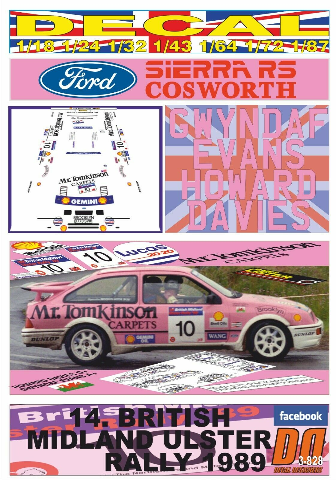 DECAL FORD SIERRA RS COSWORTH G.EVANS ULSTER R. 1989 WINNER (06)