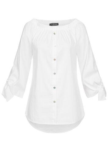 50/% OFF B18098268 Damen Violet Bluse 1//2 Arm Off Shoulder Deko Knopfleiste weiß