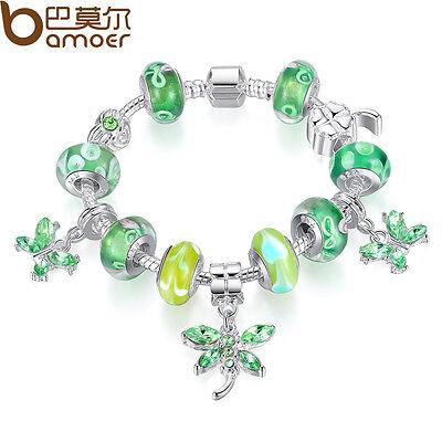 DIY Murano Silver European Charm Bracelet Green Beads Glass Butterfly For Women