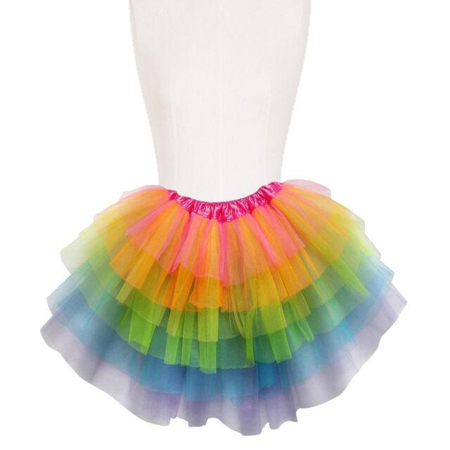 4329cad8fc Adult Neon Rainbow Unicorn Tutu Fancy Dress Pride 80s Ballet Hulu Dance Stag  Hen